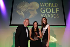 Nena Huwae receiving the award for Best Golf Tour Operator Asia on behalf of Golfasian from host Steve Rider